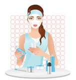 Girl with a cosmetic mask Royalty Free Stock Photo