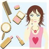 Girl with cosmetics Stock Image