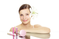 Girl with cosmetics royalty free stock photo