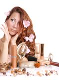 Girl with cosmetics. Beautiful young girl with cosmetics Stock Images