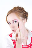 Girl with cosmetics brushes. Young beautiful girl with cosmetics brushes Stock Image