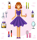 Girl and cosmetics icons. Flat vector illustration of beautiful girl in pretty dress with essence. Cosmetics and beauty icons: perfume bottle, lipstick, lip Royalty Free Stock Photo