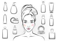 Girl and cosmetics Stock Photos