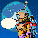 Girl cosmonaut on planet Earth. Pop art retro style. The pin up girl. Vintage spaceman science fiction Stock Images