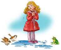 The girl costs in a water and weep. The frog and sparrows look at it Stock Photography