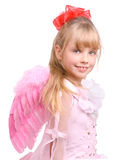 The girl in costume of angel. Isolated Stock Photos