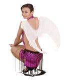 Girl in costume of angel on halloween. Stock Photography