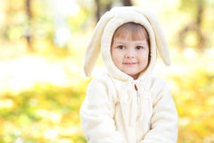 Girl in costume bunny in the autumn forest Royalty Free Stock Image