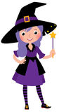 Girl in costume Halloween witch with a magic wand vector cartoon Royalty Free Stock Image