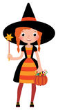 Girl in costume Halloween witch with a magic wand vector cartoon Royalty Free Stock Photo