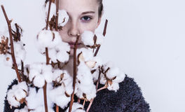 Girl with cotton bouquet Royalty Free Stock Photography