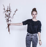 Girl with cotton bouquet Stock Photos