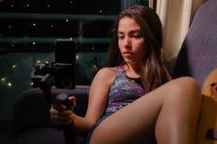 Girl couch selfie guitar gimbal 2