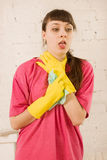 Girl coughing Royalty Free Stock Image