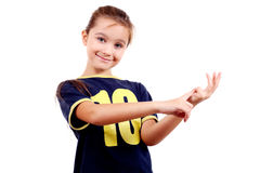 Girl count up on fingers Stock Photography