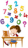 Girl counting numbers with abacus. Illustration Royalty Free Stock Photos