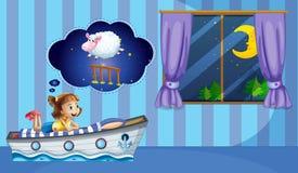 Girl counting sheep at bedtime Royalty Free Stock Photos