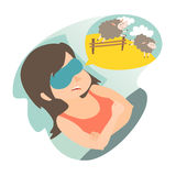 Girl with counting sheep. Stress, problem of sleep, insomnia concept. Cartoon woman in bad. Sheep jumping over the fence. Vector illustration on white Stock Image