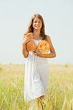 Girl with country meal Stock Image