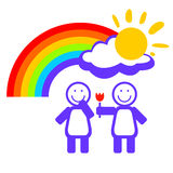 Girl couple and rainbow Stock Images