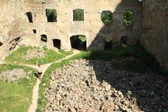 Girl on courtyard of castle Girls Stone stock photo