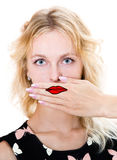 Girl cover her mouth with hand. Silence Royalty Free Stock Images
