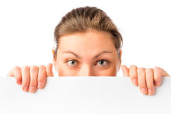 Girl covered her face  placard Royalty Free Stock Image