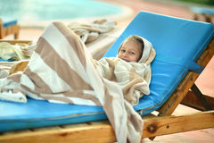 girl covered with towel Stock Photography