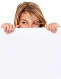 Girl covering with a banner Royalty Free Stock Photography