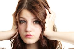 Girl Covering Ears Not Listening Isolated Royalty Free Stock Photography