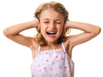 Girl covering ears and yelling Royalty Free Stock Photo