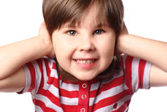 Girl covering her ears Royalty Free Stock Photography