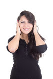 Girl covering her ears with hands Stock Photo