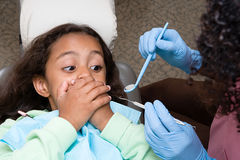 Girl covering mouth Stock Images