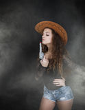 Girl in cow boy style Stock Photography