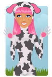Girl in cow costume Royalty Free Stock Photo