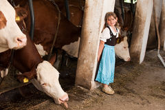 Girl in a cow stable Royalty Free Stock Photography