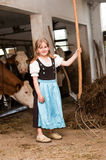 Girl in a cow stable Stock Images