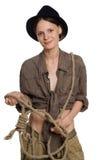 The girl the cowboy Stock Photos