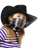 Girl cowboy in a black hat Royalty Free Stock Images