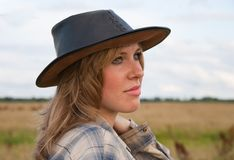 Girl in cowboy hat Royalty Free Stock Photography