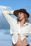 Girl in cowboy hat Royalty Free Stock Photo