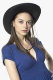 Girl in cowboy hat. Looking ahead Stock Image