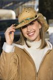 Girl with cowboy hat. Royalty Free Stock Photos