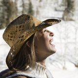 Girl with cowboy hat. Royalty Free Stock Photo