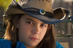 Girl in Cowboy Hat and western wear Royalty Free Stock Images
