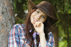 Girl in a cowboy hat Royalty Free Stock Photo
