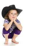 Girl Cowboy In A Black Hat Stock Images