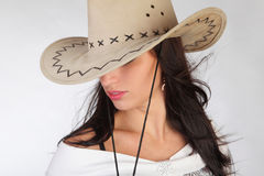 girl in a cowboy's hat Stock Images