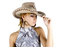 Girl in cowboy's hat Royalty Free Stock Image
